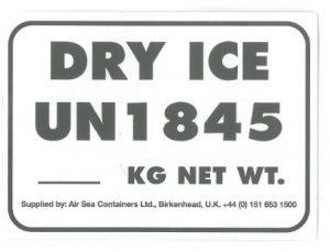 étiquette transport produit avec glace carbonique